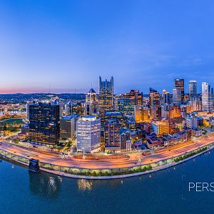 Aerial Pano of Downtown Pittsburgh at Last Light