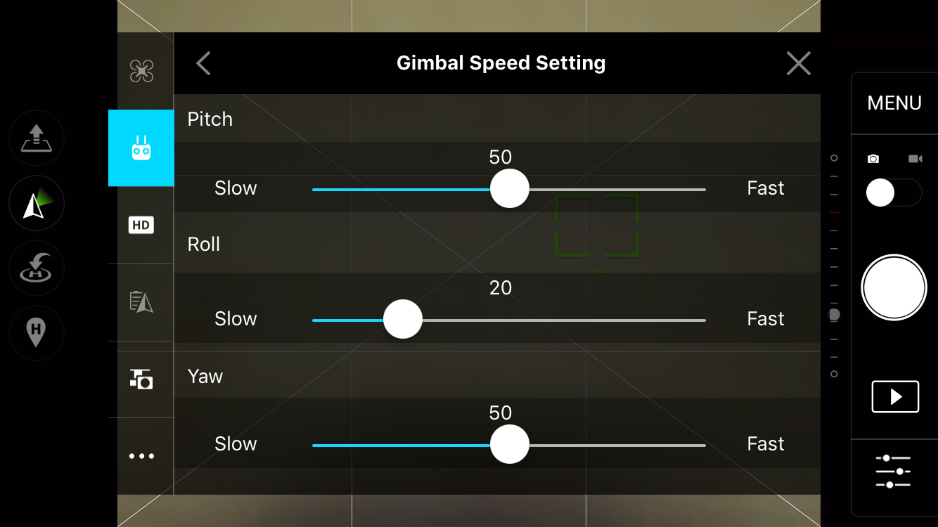 Gimbal Speed Settings